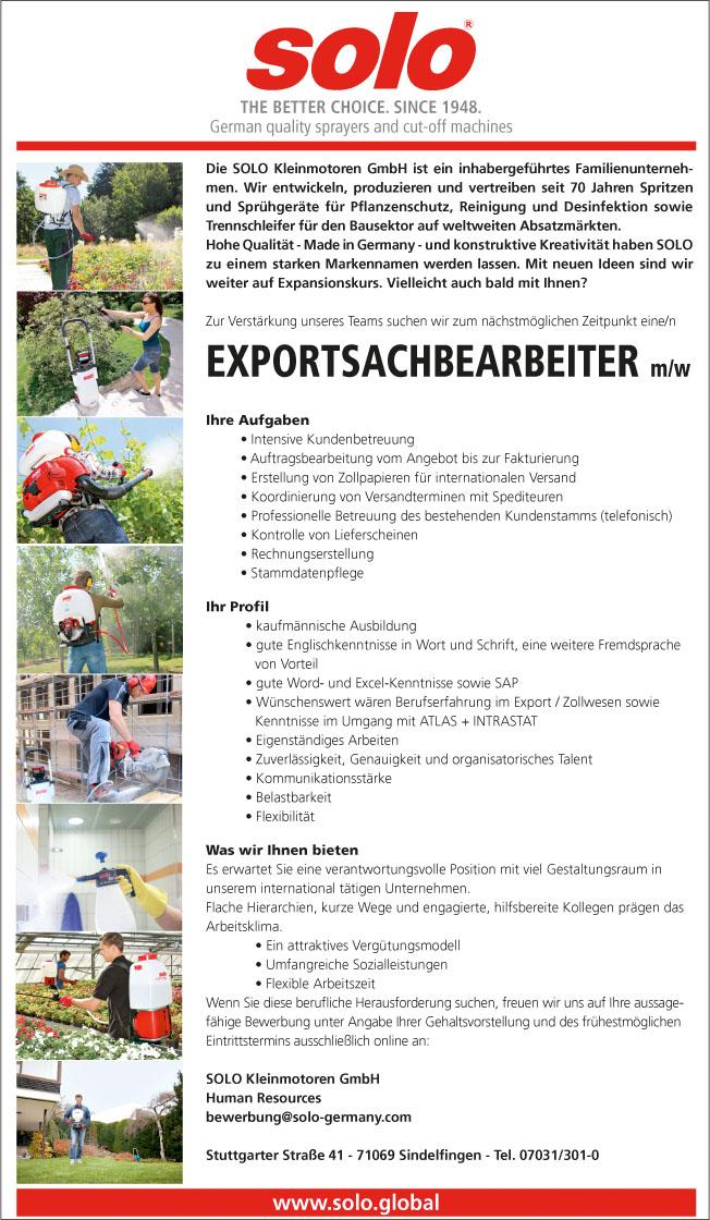 Exportsachbearbeiter/Ausfuhrabwicklung